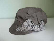 BNWT MONSOON ACCESSORIZE LADIES GREY FLORAL BOW RETRO BAKER BOY CAP BOHO HAT