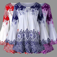 Women's Long Bell Sleeve Tops Lace Up Casual Tunic Floral Print Shirt Blouse US
