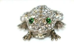 18K White Gold 1,5ct Round Cut Diamond Pave Setting Frog Pin Brooch-Very Good
