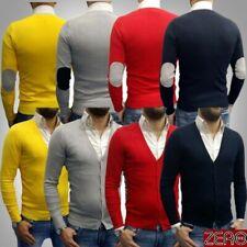 Cardigan Uomo Toppe Pullover Maglia Maglione rosso elastico Slim Fit m,l,xl,xxl