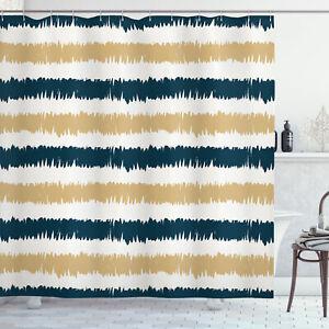 Striped Shower Curtain Navy Blue Beige Brush Print for Bathroom