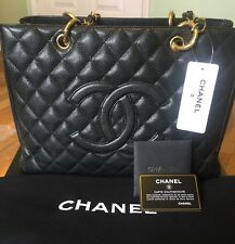 NEW with box Authentic CHANEL GST Caviar Grand Shopping Tote Black Gold hardware
