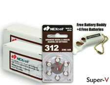 Size 312 Hearing Aid Batteries by NEXcell (120 Batteries)+ Keychain/4 Batteries