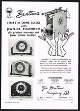 1950s Old Vintage 1957 Bentima London Strike Chime Clock Print Ad