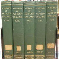 History Of Modern England~ Herbert Paul 1905 1st Ed 5 Vol. Set Rare Books