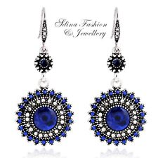 18K White Gold Plated Crystal Sunflower Vintage Bohemian Dangle Earrings