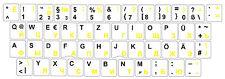 German Russian Keybord sticker Schriften black - yellow, white background