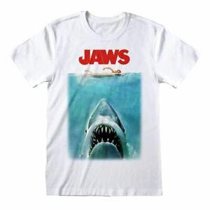 Men's Jaws Poster White Crew Neck T-Shirt