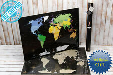 DELUXE BLACK SCRATCH OFF WORLD MAP DETAILED LAMINATED MAP PUSH PIN TRIP POSTER