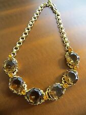 1950s Rhinestone Necklace Brown/Yellow Faceted Glass Quality Golden Metal Choker