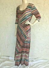 PERUVIAN CONNECTION Multi Print Stretch Jersey Maxi Dress Size L