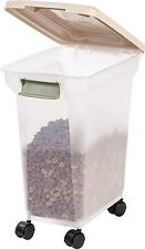 Pet Food Storage Container 22 Pounds Dog Tan Airtight Box with Lid Plastic IRIS
