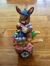 Collectible Easter Bunny Rabbit Painter Artist Cart Resin Figurine Trinket Box