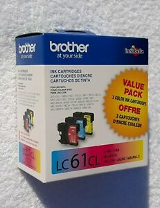 Genuine Brother LC61CL Cyan Magenta Yellow Ink Cartridge Value Pack Exp 04 2020