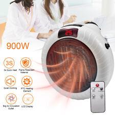 900W Mini Space Fan Heater Plug-in Electric Wall Outlet Home Furnace Warmer Fast