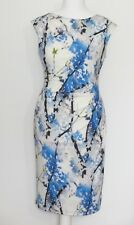 Phase Eight Edith Blossom Blue Ivory Mix Dress 14 UK NEW Stretch Lined Washable