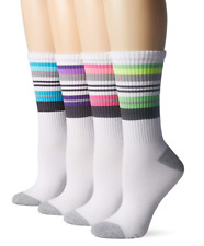 Hanes Women's Crew Cushioned Socks X-Temp 4 Pairs Shoe Size 5-9 Assorted
