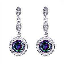 Multi Round Shaped Woman Rainbow Mystic Topaz Gems Silver Dangle Hook Earrings