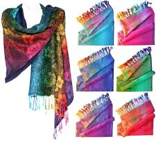 Floral Rave Colorful Soft and Silky Pashmina Scarf Shawl Rainbow Wrap