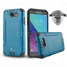 BLUE BRUSHED ARMOR SHOCKPROOF COVER PHONE CASE FOR [SAMSUNG GALAXY J3 ECLIPSE]