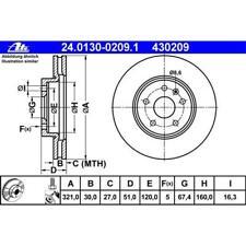 ATE 24.0130-0209.1 Bremsscheiben 2 Stück OPEL