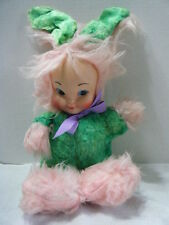 Vintage Rubber Face Bunny Girl Doll RARE Green & Pink Long Hair