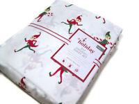 Pottery Barn Kids Christmas Holiday Elf Organic Cotton Full Sheet Set New
