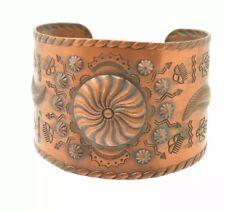 "Large Statement Copper Bracelet Cuff Native American Storyteller Handmade 6"""
