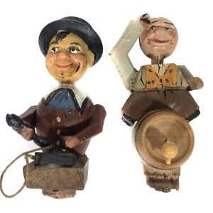 2 VINTAGE CARVED WOOD WOODEN MAN ON PHONE & BARREL CORK WINE STOPPERS WOW