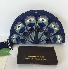 NWT Kate Spade Full Plume Straw Peacock Clutch Leather Bag Blue Multi New $328