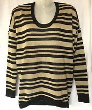 COUNTRY ROAD Ladies Long Sleeve Top Size XS Black Gold Lurex Jumper Sweater Warm