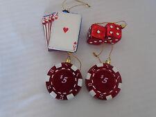 4 Vintage Poker Blown Glass Christmas Ornaments