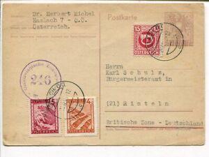 Austria uprated censor postal card to Germany 20.4.1946