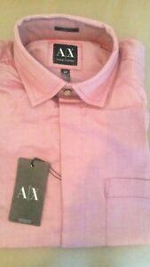 NWT Armani Exchange Mens Chambray Dressy Casual Button Down Shirt Slim Fit