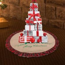 "48""  Burlap Christmas Tree Skirt Plaid Linen Ornaments Floor Mat Cover Decor"