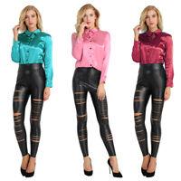 Womens Long Cuff Sleeve Turn-Down Collar Satin Blouse Button Down Shirt Tops