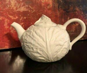 "1 NEW Block Subtil Cabbage Leaf White Large Teapot Majolica Portugal 6.75"" RARE"