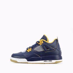 Nike Air Jordan 4 Retro BG Junior Youth Older Kids Shoes in Mid Navy/Gold
