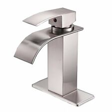 Brushed Nickel Bathroom Basin Faucet Waterfall Spout Sink Vanity Mixer Tap+Cover