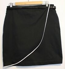 REVIEW ~ Black Straight Skirt with White Edging on Fabric Wrap Patent Belt 12