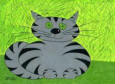 FAT CAT Cartoon Animal Kitten Kitty Figure Original Pastel Pencil Art Drawing