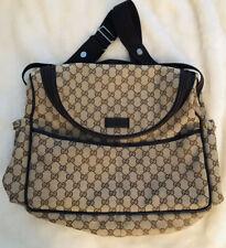 Authentic Gucci Designer GG Canvas Diaper Bag Tan/Brown Great Condition