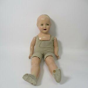 Antique Fiberoid Composition Doll 24-inch w/ Sleeping Eyes Soft Body Baby Doll
