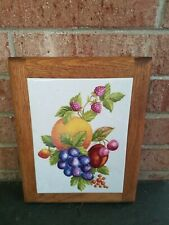 WOODLINE PRODUCTIONS Fruit  FRAMED TILE Coaster DECORATIVE Trivet