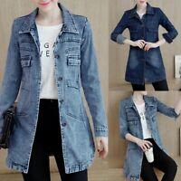 Womens Denim Jacket Slim Jeans Coat Casual Long Sleeve Vintage Outwear Plus Size