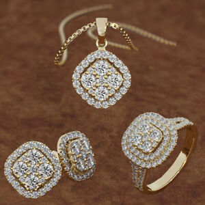 Gold/925 Silver/rose Gold White Zircon Ring&earring&necklace Wedding Jewelry Set