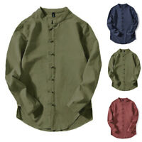 Men's Vintage Linen Long Sleeve Shirts Stand Collar Casual Chinese Kung Fu Tops
