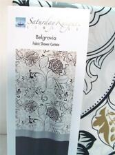 Abstract Floral Shower Curtain BELGRAVIA in Black White Tan & Gray