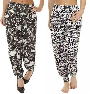 Ladies Full Length Printed Ali Baba Baggy Hareem Leggings Trouser Womens Pants