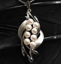 Floral Design Necklace 16� Long Stunning Vintage Estate Sterling Silver Pearl